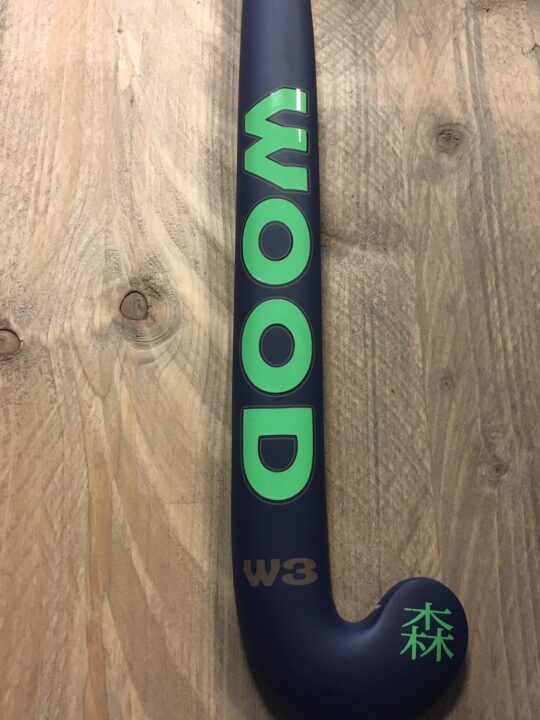Wood W3 junior carbon hockeystick navy/groen