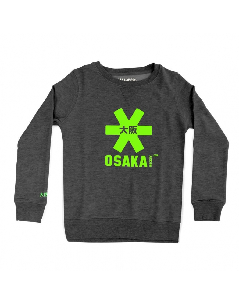 Osaka sweater kids Antraciet / navy melange / groen