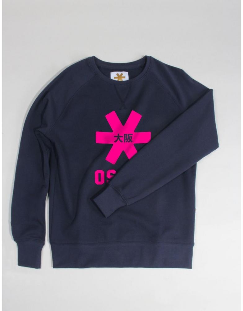 Osaka basic sweater dames Navy / roze