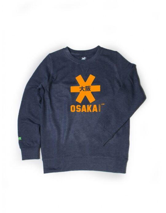 Osaka sweater kids Navy melange / knal oranje