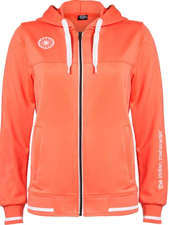 Indian Maharadja Hooded Zipper Women Coral