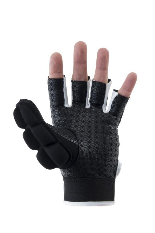 The Indian Maharadja VELD handschoen, HALF FINGER (links) Zwart